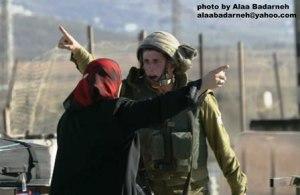Conflitto soldato e donna palestinese