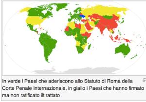Mappa paesi che riconoscono Statuto di Roma