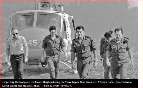 Rabin inspecting Yom Kippur war