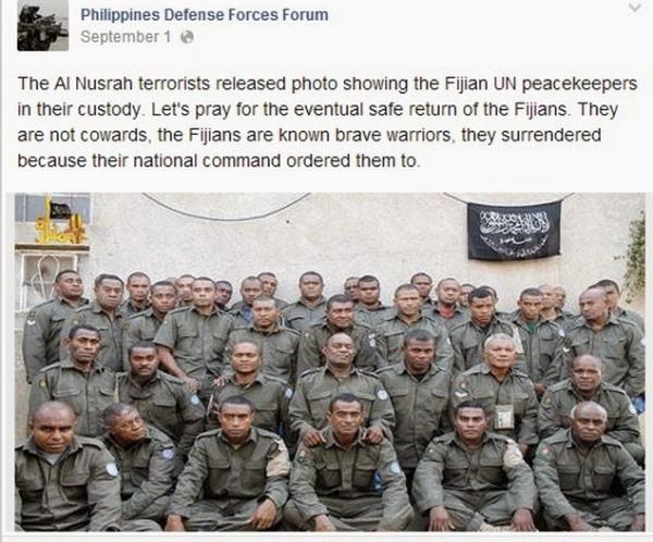 Soldati Fiji prigionieri di Al Nusra