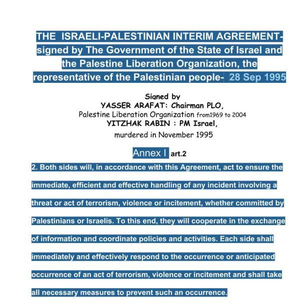 testo accordo Israele PLO