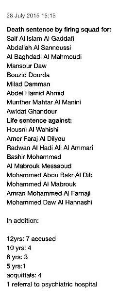 libia processo saif gheddafi tutte le condanne