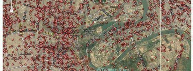 Ogmi puntino rosso indica un'autobomba esplosa in Baghdad dal 2003.